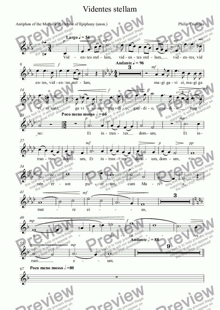 page one of the SOPRANO part from Videntes stellam