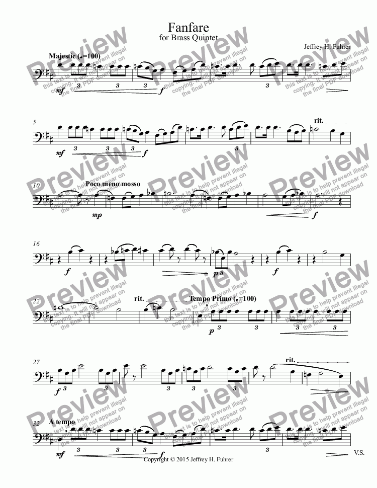 page one of the Trombone part from Fanfare for Brass Quintet