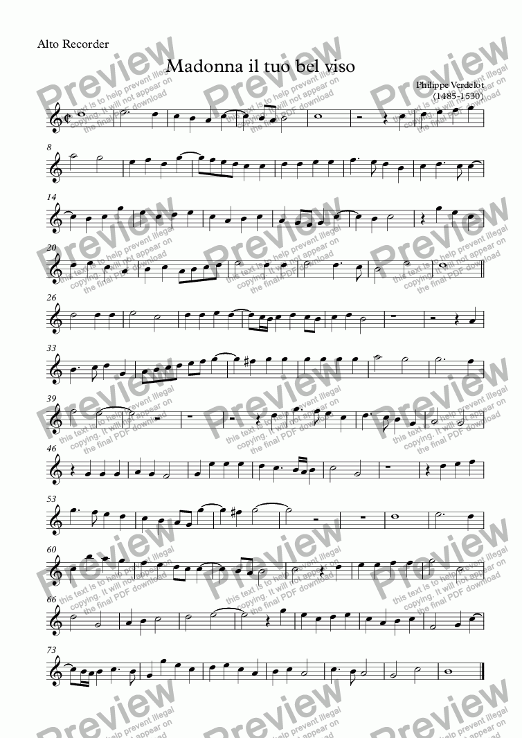 page one of the Alto Recorder part from Madonna il tuo bel viso (Verdelot)