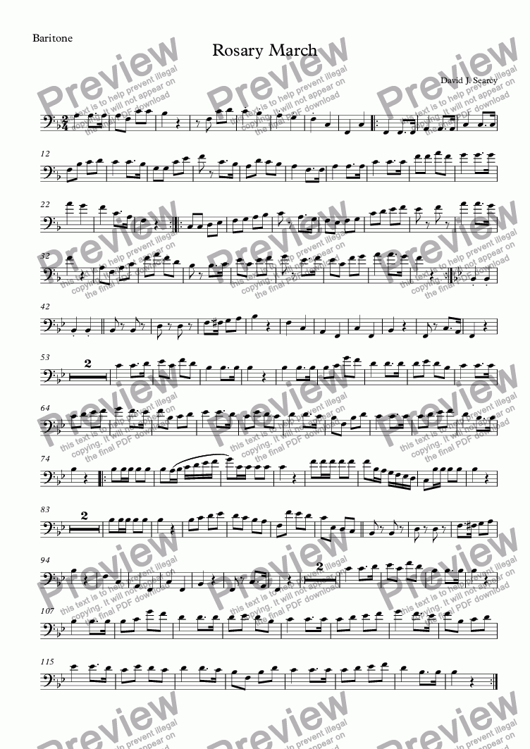 page one of the Baritone part from Rosary March