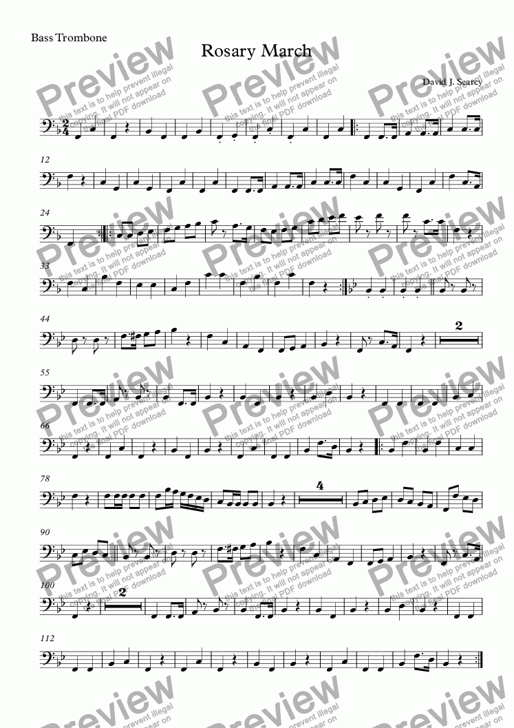 page one of the Bass Trombone part from Rosary March