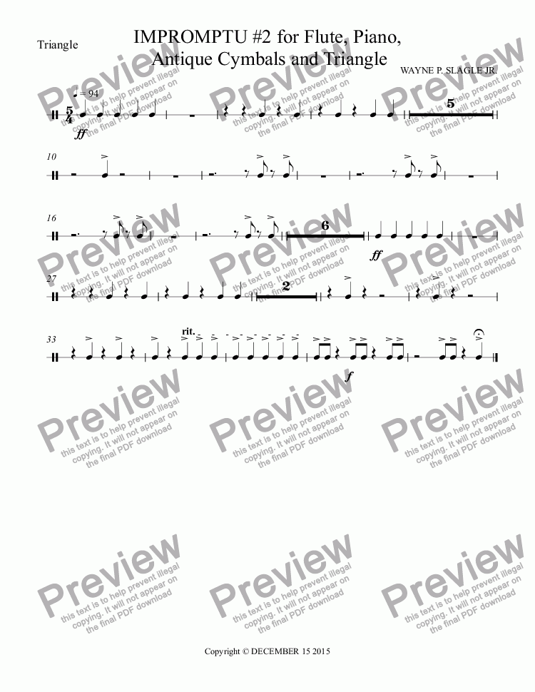 page one of the Triangle part from IMPROMPTU #2 for Flute, Piano,  Antique Cymbals and Triangle