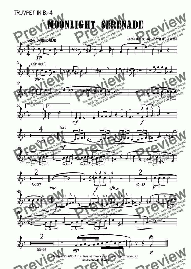page one of the Trumpet in B^b 4 part from Moonlight Serenade - brass ensemble