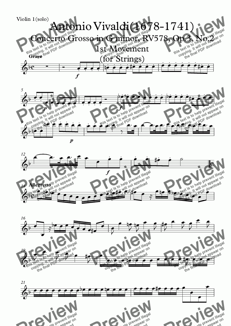 page one of the Violin 1(solo) part from Vivaldi-Concerto Grosso in G minor, RV578, Op.3, No.2 1st Movement (for Strings)