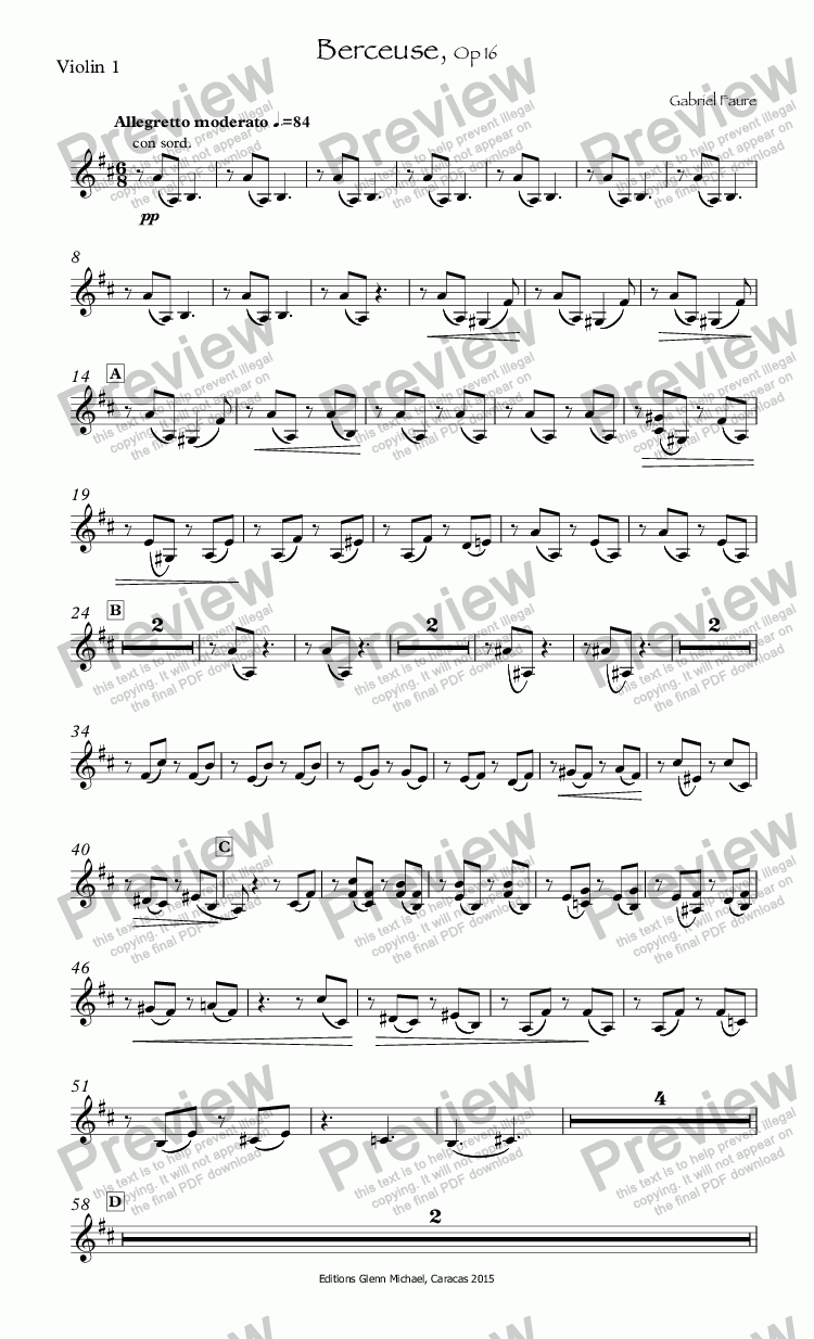 page one of the Violin 1 part from Berceuse for Solo Violin y orchestra, Op 16
