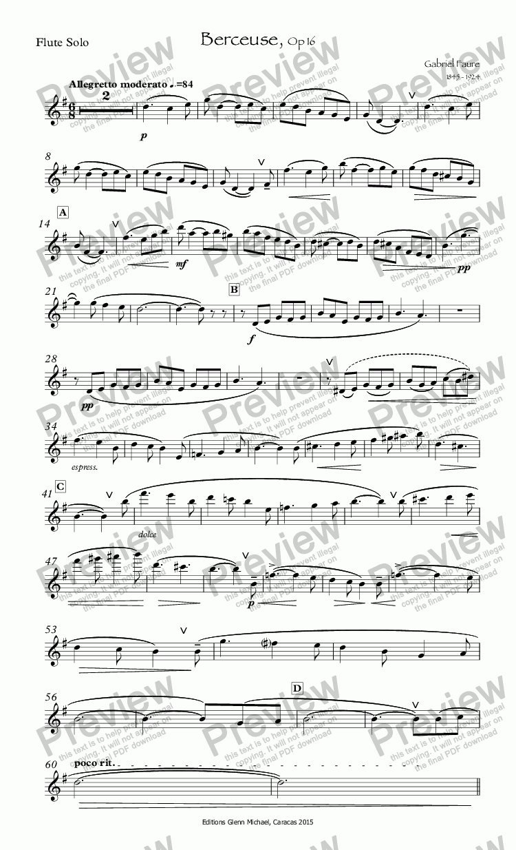 page one of the Flute Solo part from Faure Berceuse for Flute Op 16