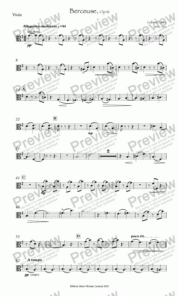 page one of the Viola part from Faure Berceuse for Flute Op 16
