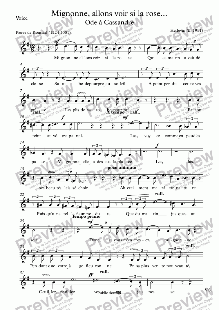 page one of the Voice part from Mignonne, allons voir si la rose (Herlevin - Ronsard)