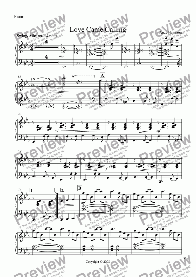 page one of the Piano part from Love Came Calling
