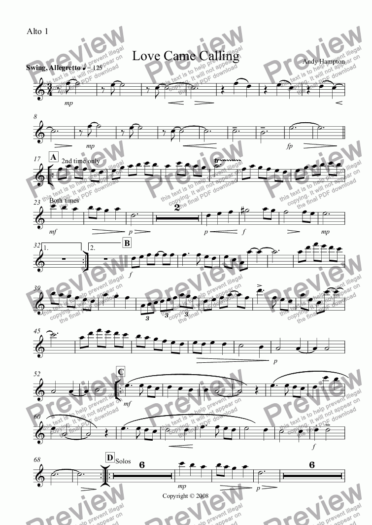 page one of the Alto 1 part from Love Came Calling