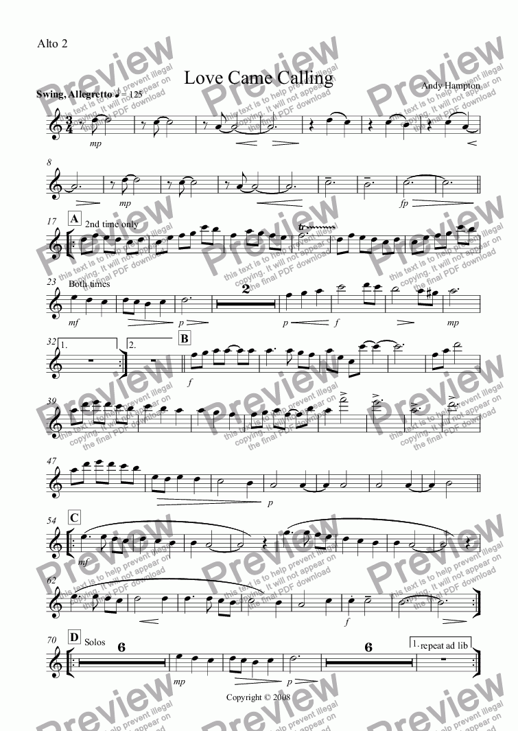 page one of the Alto 2 part from Love Came Calling