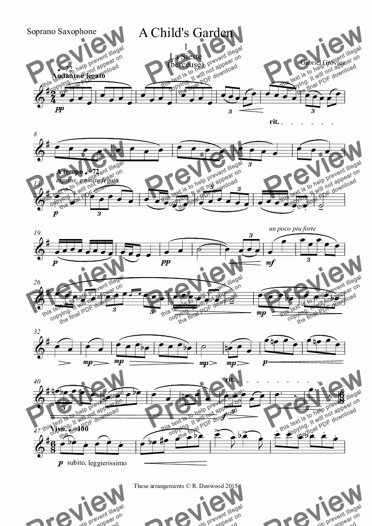 page one of the Soprano Saxophone part from Grovlez - A Child's Garden, 6 movements for sax quartet SATB.