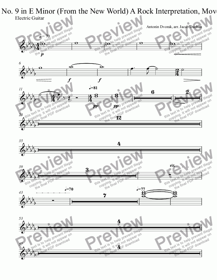 page one of the Electric Guitar part from New World Rock: Largo/Ballad