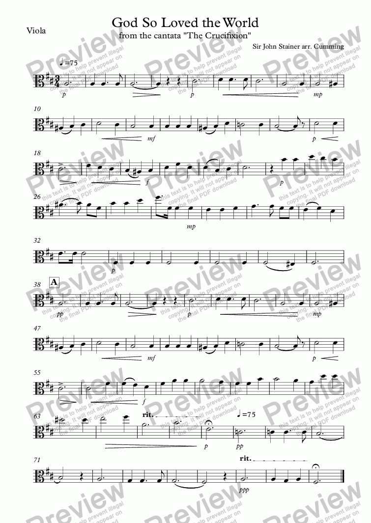 "page one of the Viola part from ""God So Loved the World"" arr. for string orchestra"