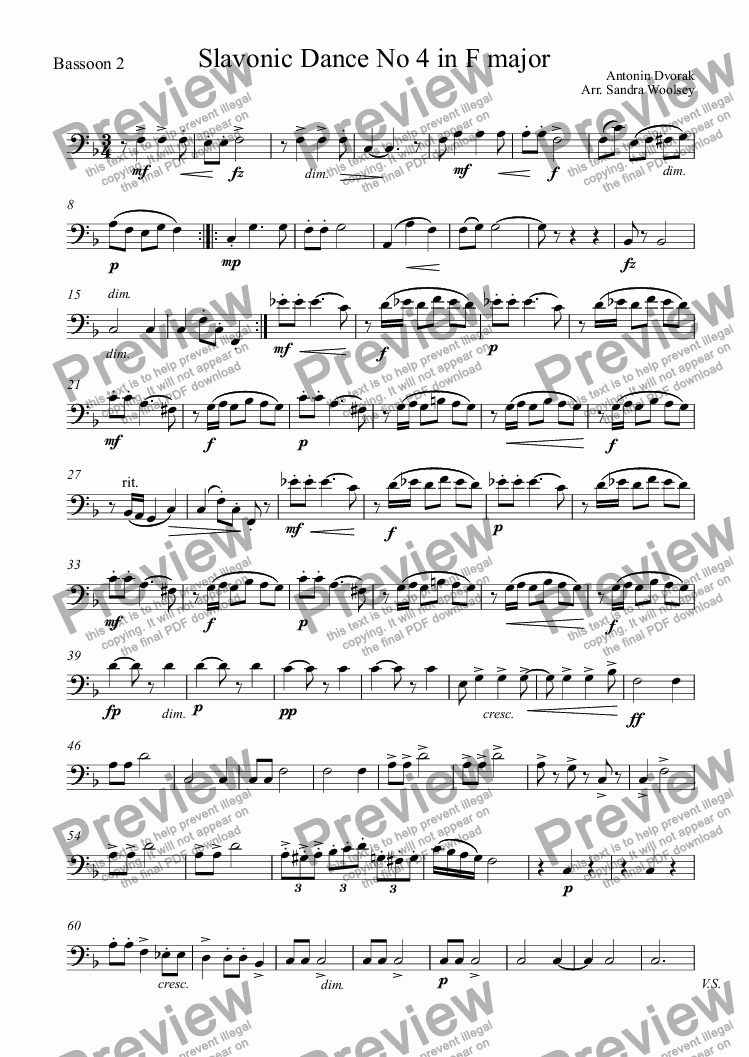 page one of the Bassoon 2 part from Dvorak, Slavonic Dances No 4, Sousedska,