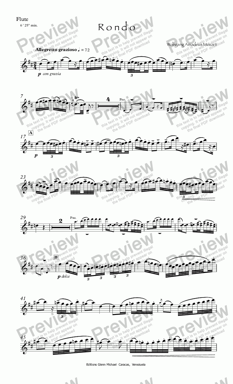 page one of the Flute part from Mozart Rondo in D for flute & piano
