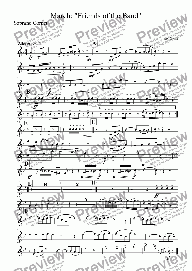 "page one of the Soprano Cornet part from March: ""FRIENDS OF THE BAND"""
