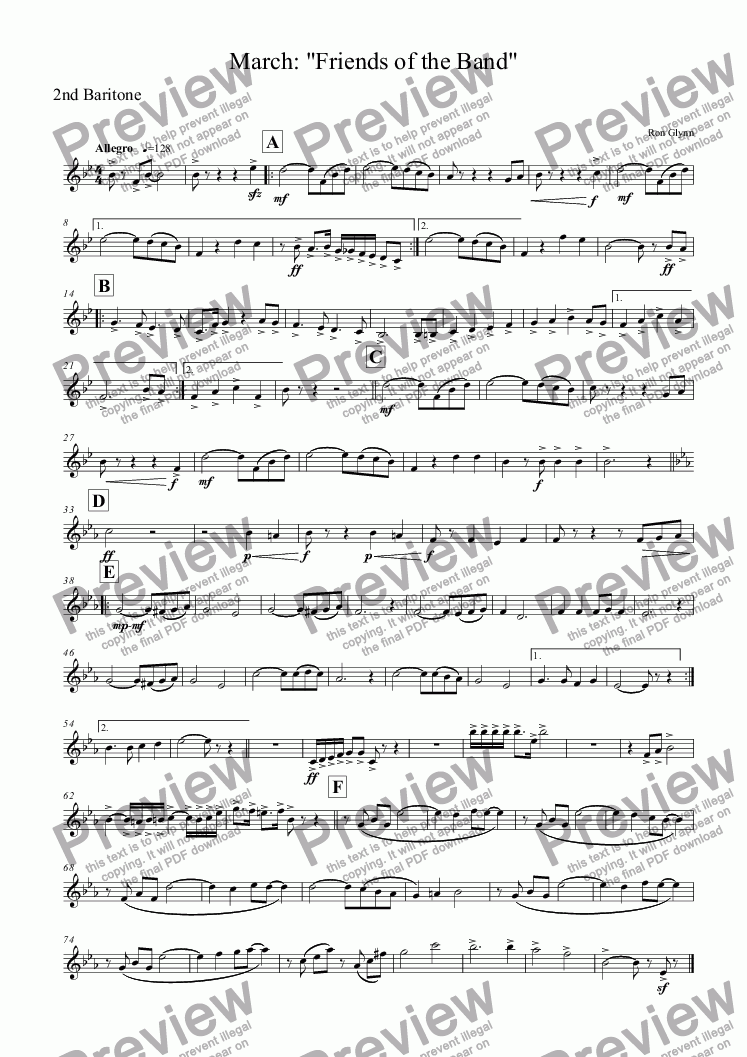 "page one of the 2nd Baritone part from March: ""FRIENDS OF THE BAND"""