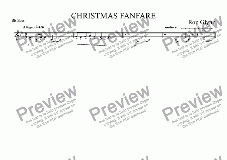 page one of the Bb Bass part from CHRISTMAS FANFARE