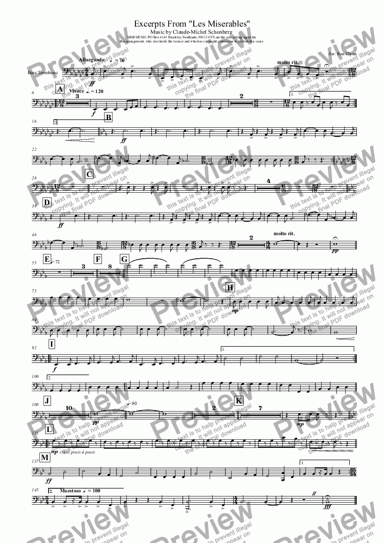 "page one of the Bass Trombone part from Excerpts From ""LES MISERABLES"""