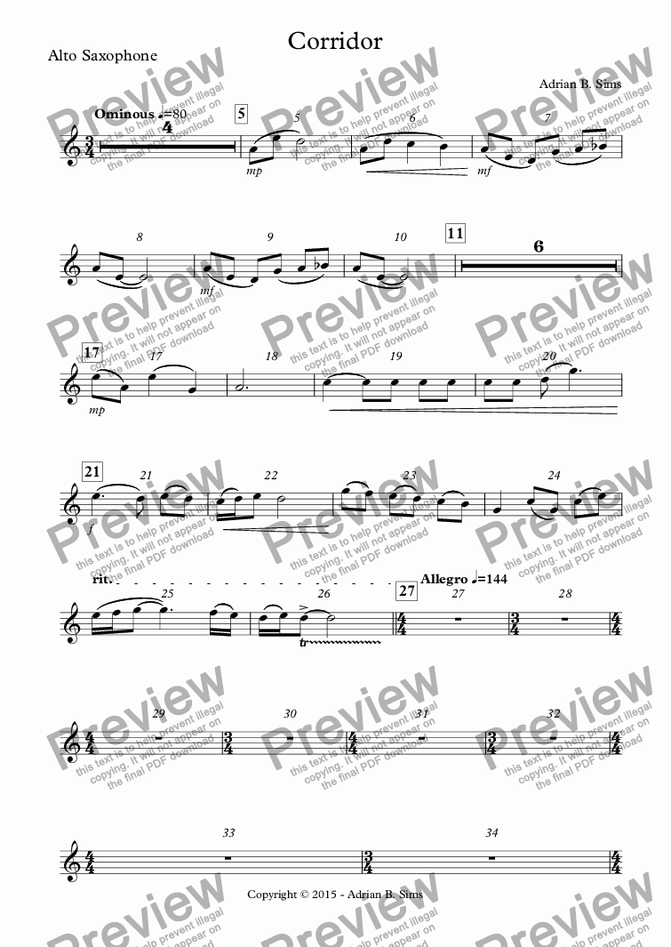 page one of the Alto Saxophone part from Corridor