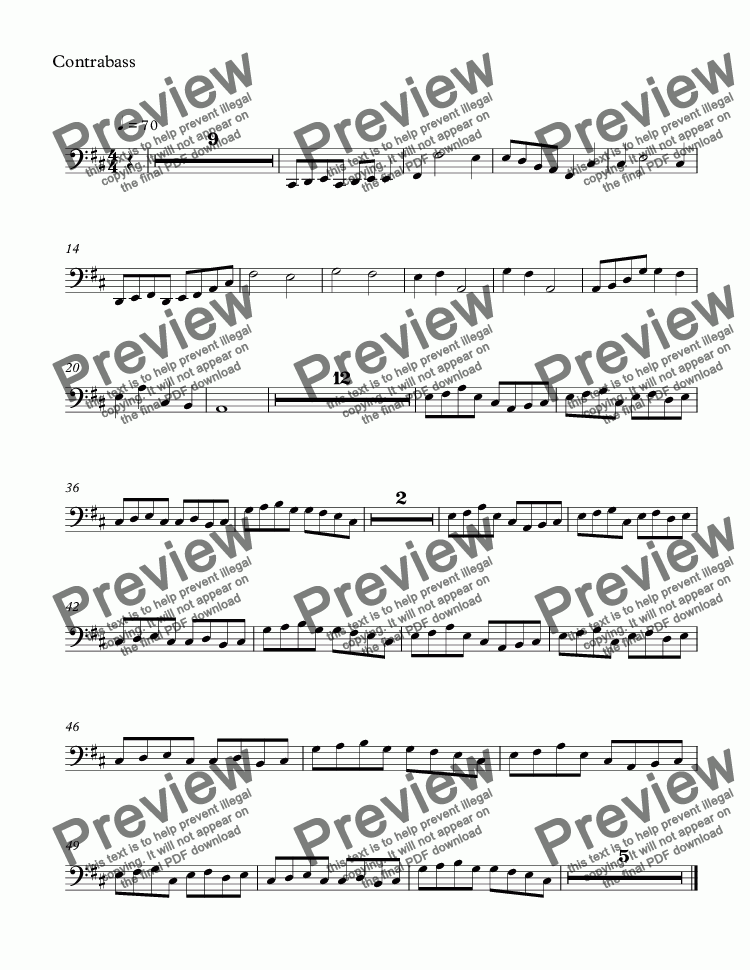page one of the Contrabass part from Repeated sickness