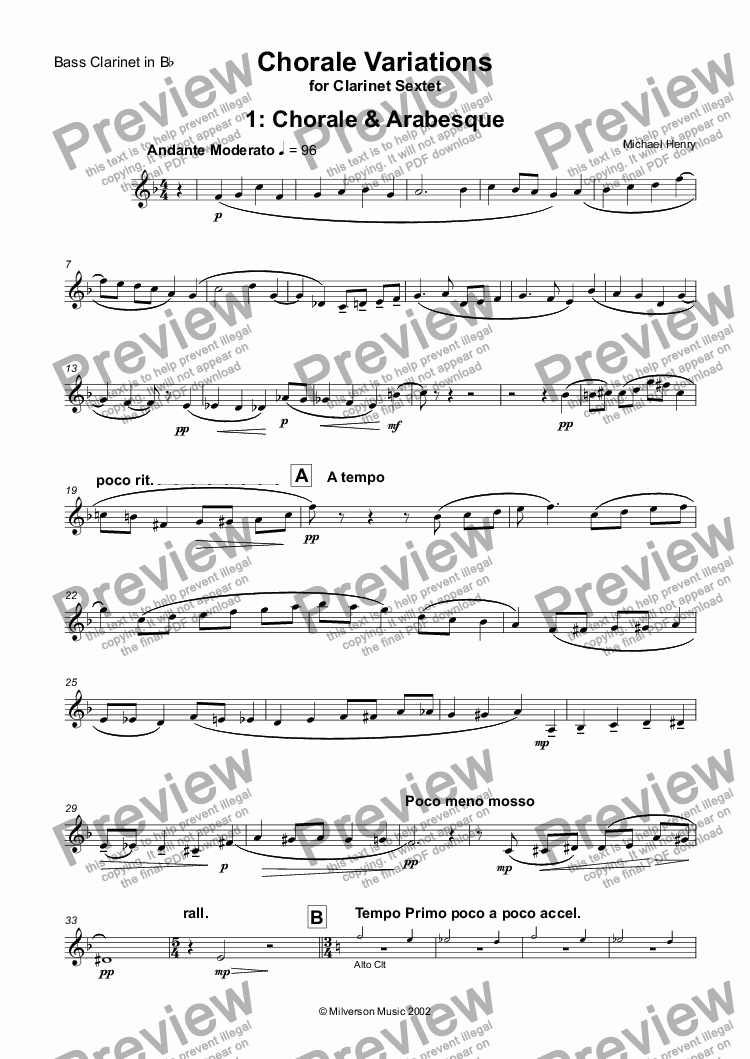 page one of the Bass Clarinet in Bb part from Chorale Variations for Clarinet Sextet