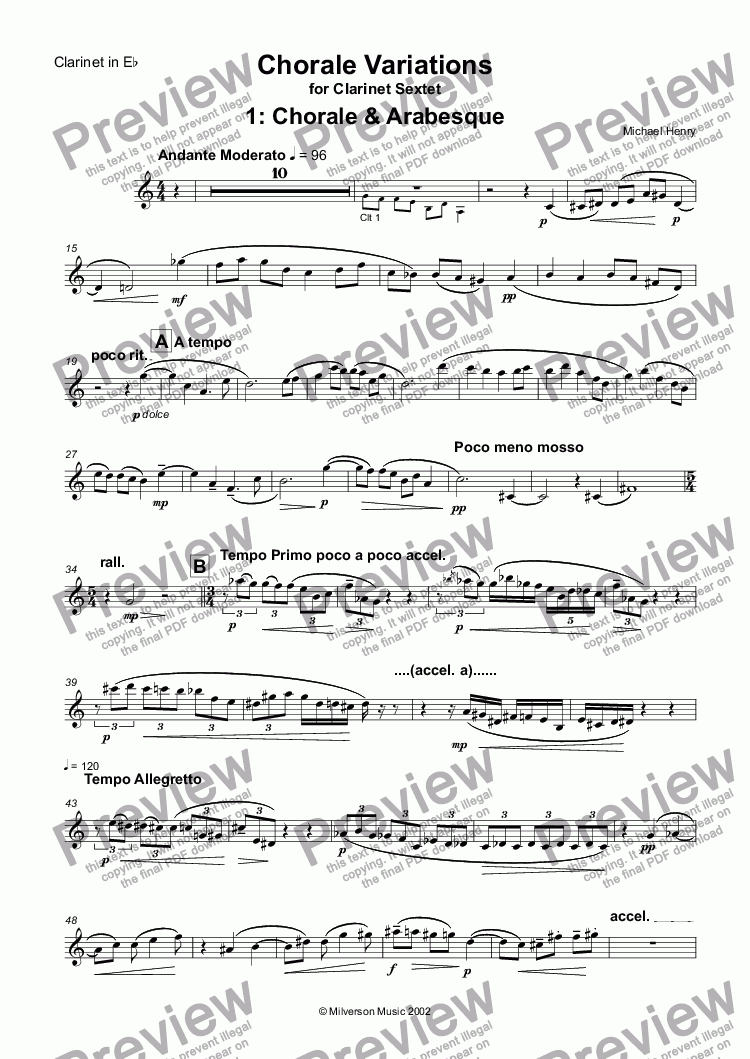 page one of the Clarinet in Eb part from Chorale Variations for Clarinet Sextet