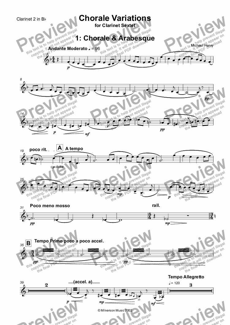 page one of the Clarinet 2 in Bb part from Chorale Variations for Clarinet Sextet