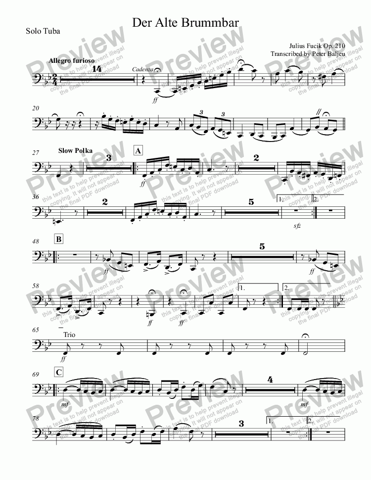 page one of the Solo Tuba part from Der Alte Brummbar (for Brass Quintet)