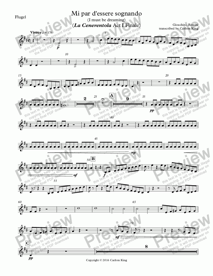 page one of the Flugel part from Mi par d'essere sognando (I must be dreaming) (La Cenerentola Act I Finale)