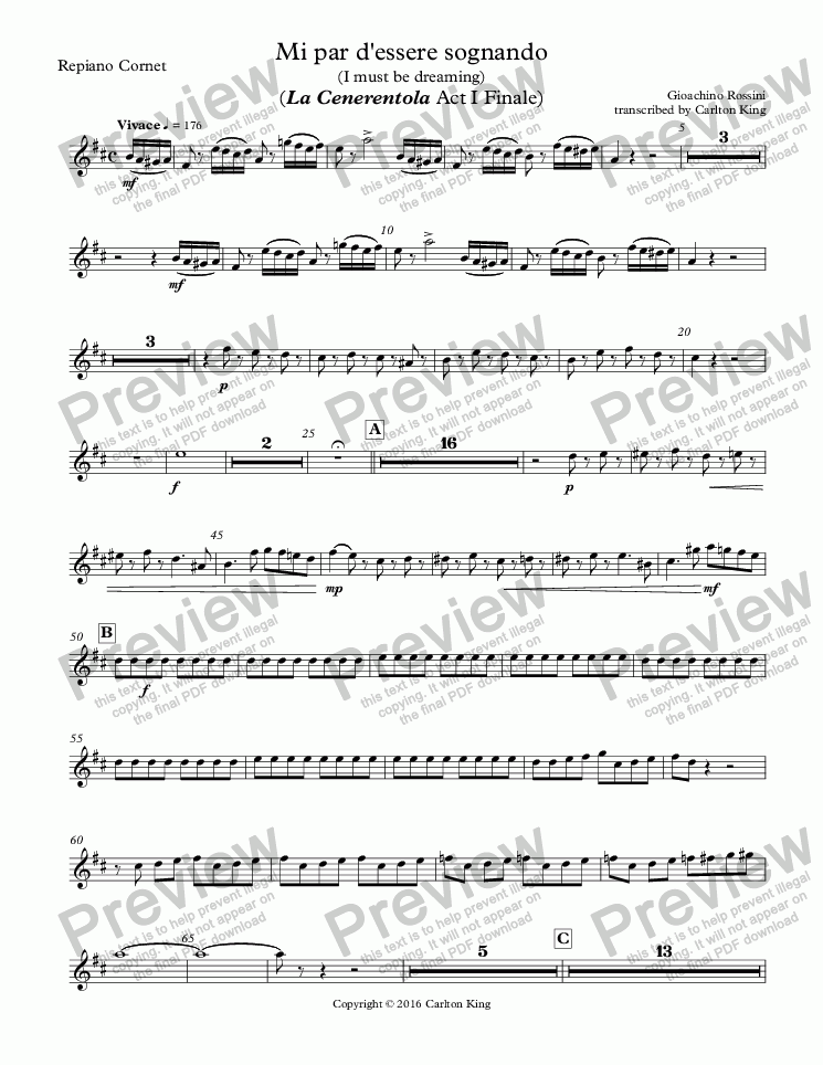 page one of the Repiano Cornet part from Mi par d'essere sognando (I must be dreaming) (La Cenerentola Act I Finale)