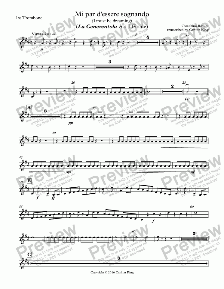 page one of the 1st Trombone part from Mi par d'essere sognando (I must be dreaming) (La Cenerentola Act I Finale)