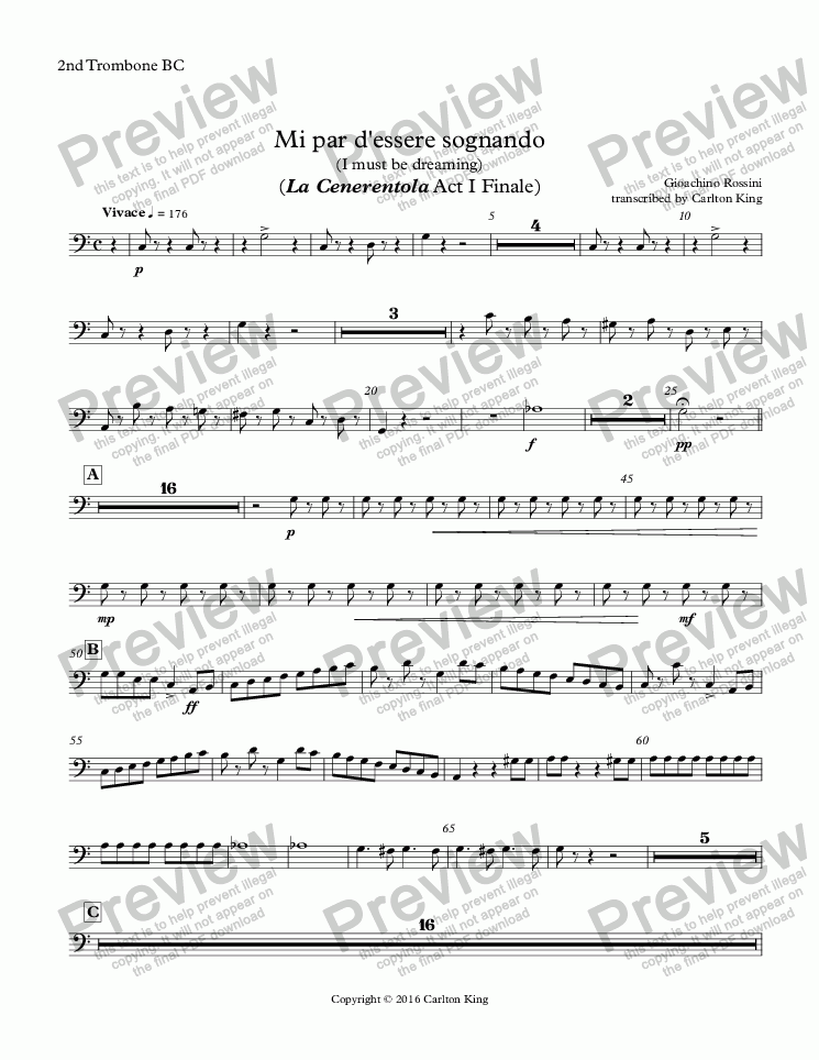 page one of the 2nd Trombone BC part from Mi par d'essere sognando (I must be dreaming) (La Cenerentola Act I Finale)