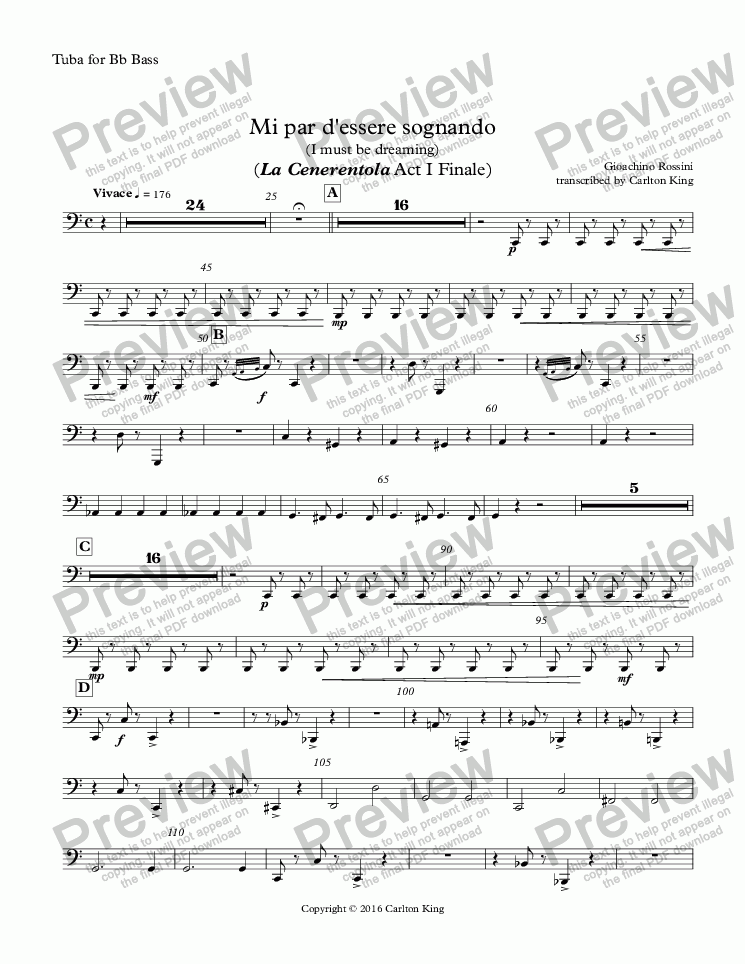 page one of the Tuba for Bb Bass part from Mi par d'essere sognando (I must be dreaming) (La Cenerentola Act I Finale)