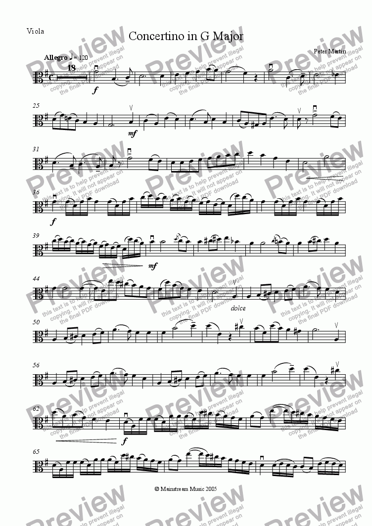 page one of the Viola part from Concertino in G Major