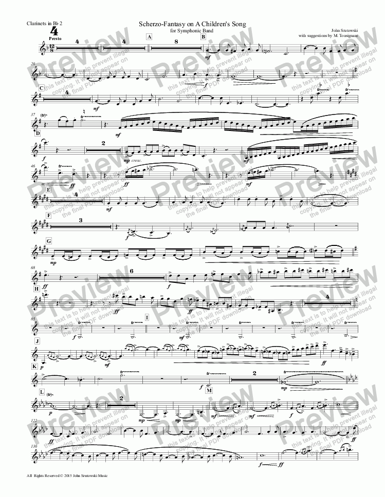 page one of the Clarinets in Bb 2 part from Scherzo-Fantasy on A Children's Song