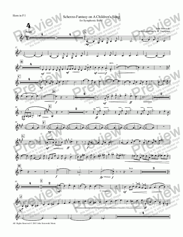 page one of the Horn in F I part from Scherzo-Fantasy on A Children's Song