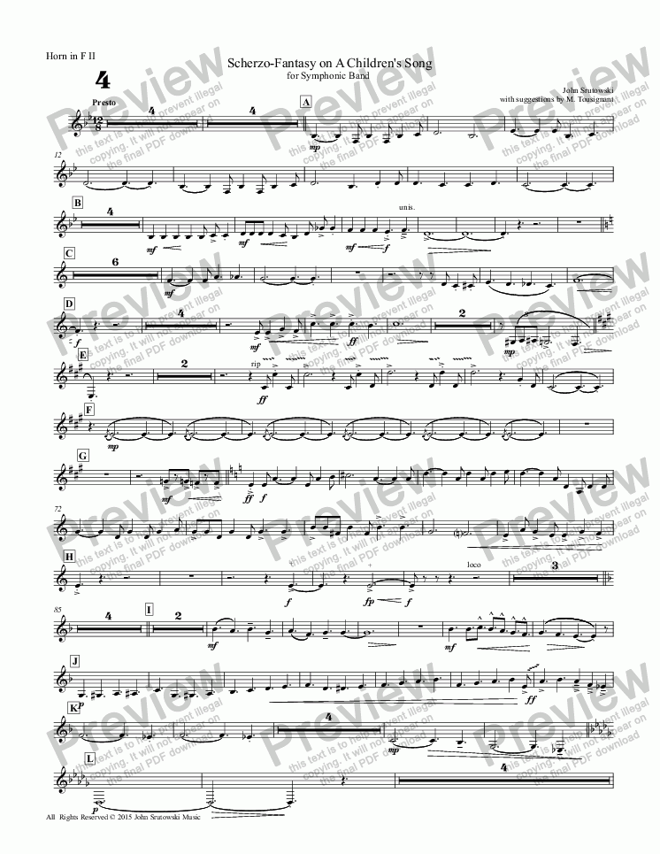 page one of the Horn in F II part from Scherzo-Fantasy on A Children's Song