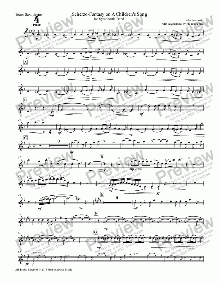 page one of the Tenor Saxophone part from Scherzo-Fantasy on A Children's Song
