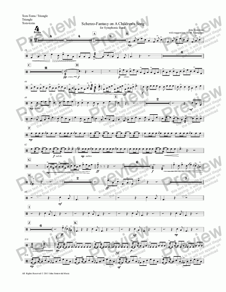page one of the Tom-Toms/ Triangle, Triangle, Tom-toms part from Scherzo-Fantasy on A Children's Song