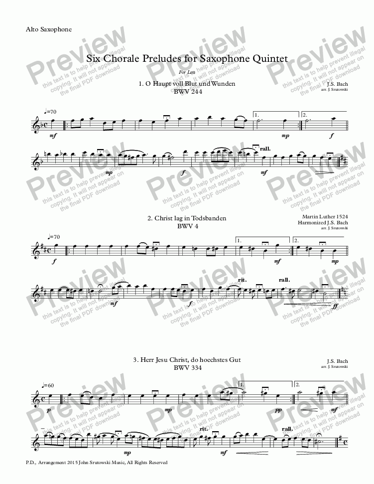 page one of the Alto Saxophone part from Six Chorale Preludes for Saxophone Quintet