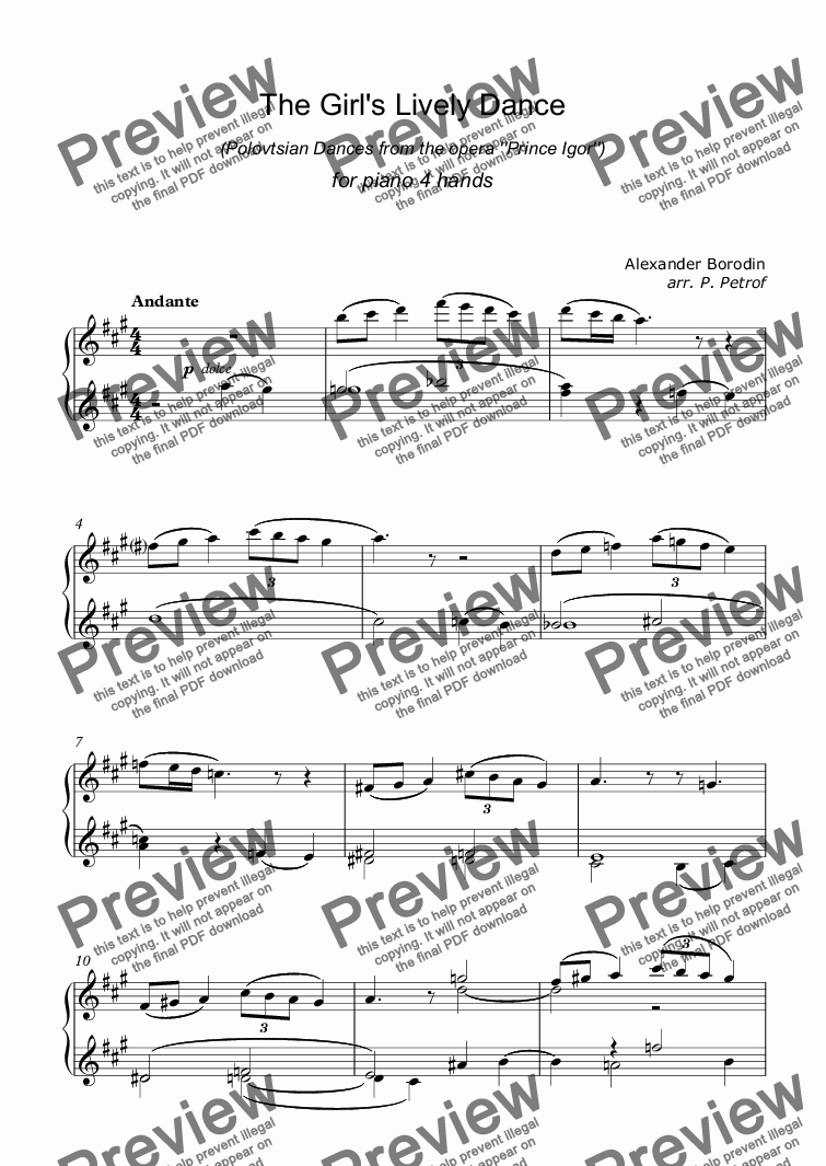 page one of the piano I part from A. Borodin - The Girl's Lively Dance (Polovtsian Dances from the opera ''Prince Igor'') - piano 4 hands