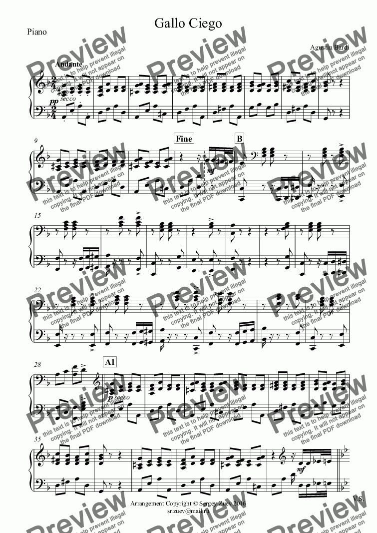 page one of the Piano part from Gallo Ciego