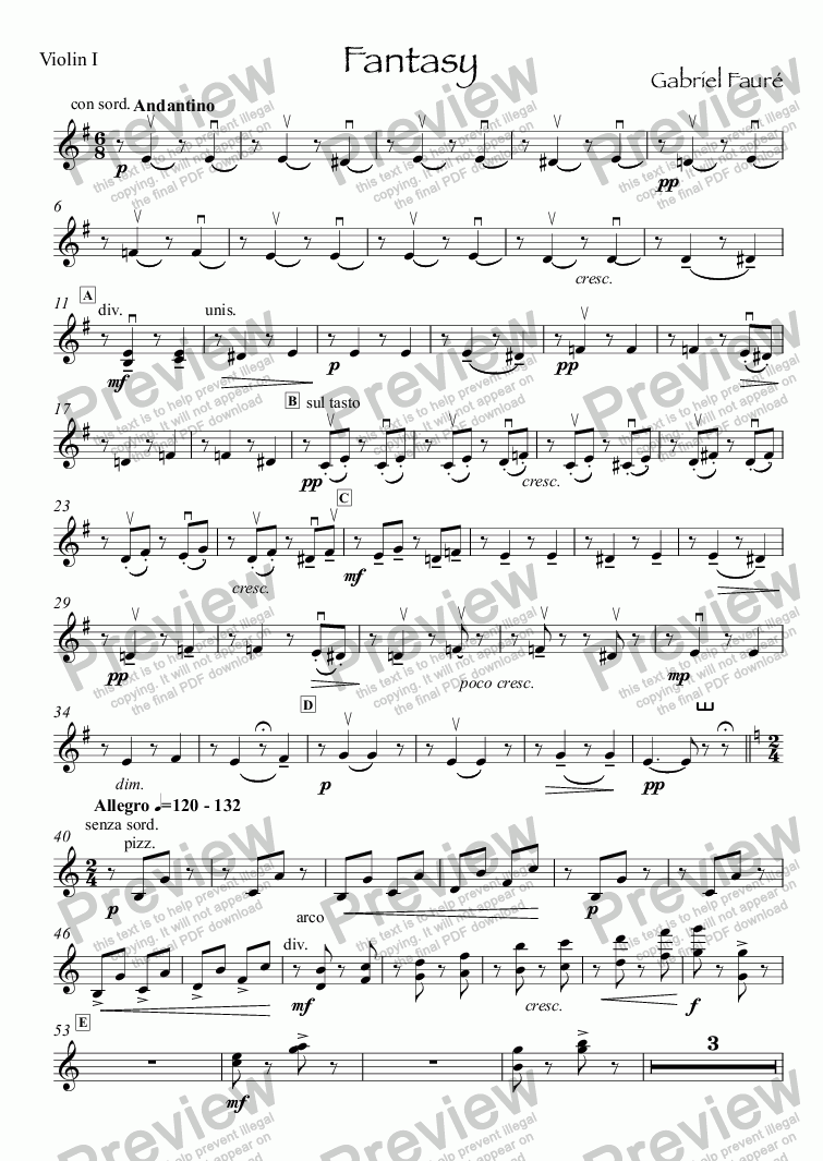 page one of the Violin I part from Faure Fantasy for flute & small orchestra