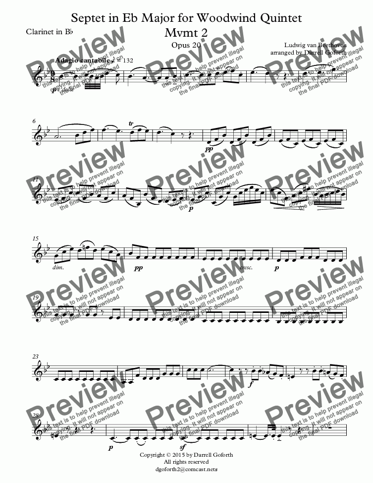 page one of the Clarinet in B^b part from Beethoven: Septet in Eb Major for Woodwind Quintet Mvmt 2 Opus 20