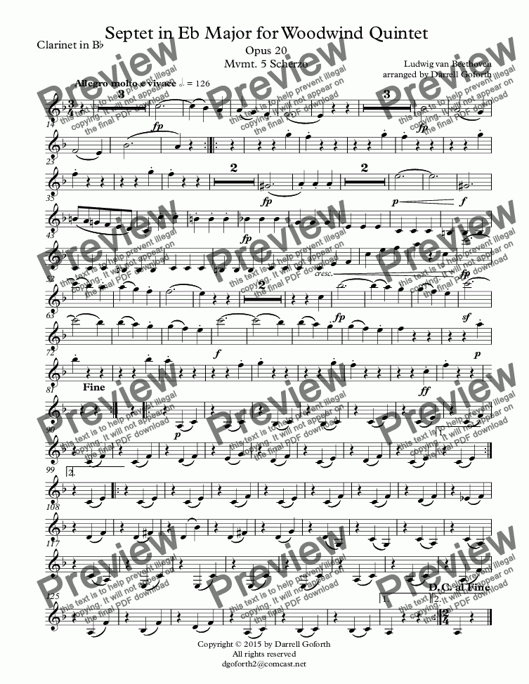 page one of the Clarinet in B^b part from Beethoven: Septet in Eb Major for Woodwind Quintet Opus 20 Mvmt. 5 Scherzo