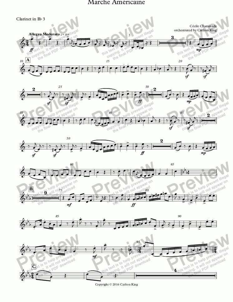 page one of the Clarinet in B^b 3 part from Marche Américaine