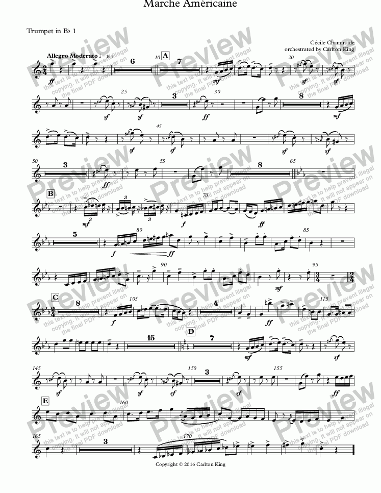 page one of the Trumpet in B^b 1 part from Marche Américaine
