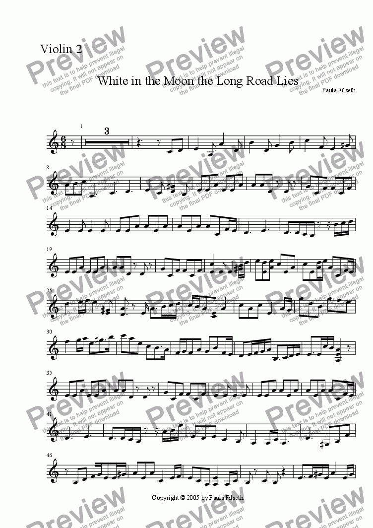 page one of the Violin 2 part from White in the Moon (for cello and 2 violins)